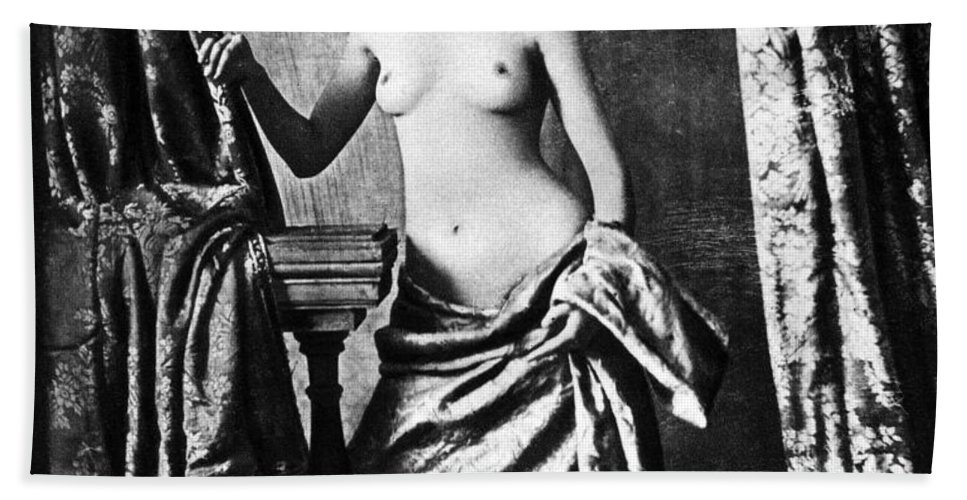 1850 Hand Towel featuring the photograph Nude And Curtains, C1850 by Granger