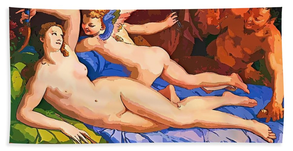 Bronzino Hand Towel featuring the painting Nude Art Painting by Snowflake Obsidian