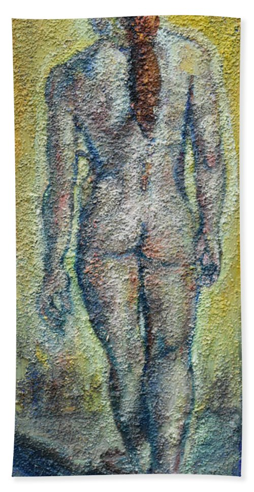 Oil And Sand On Canvas Hand Towel featuring the painting Nude Brunet by Raija Merila