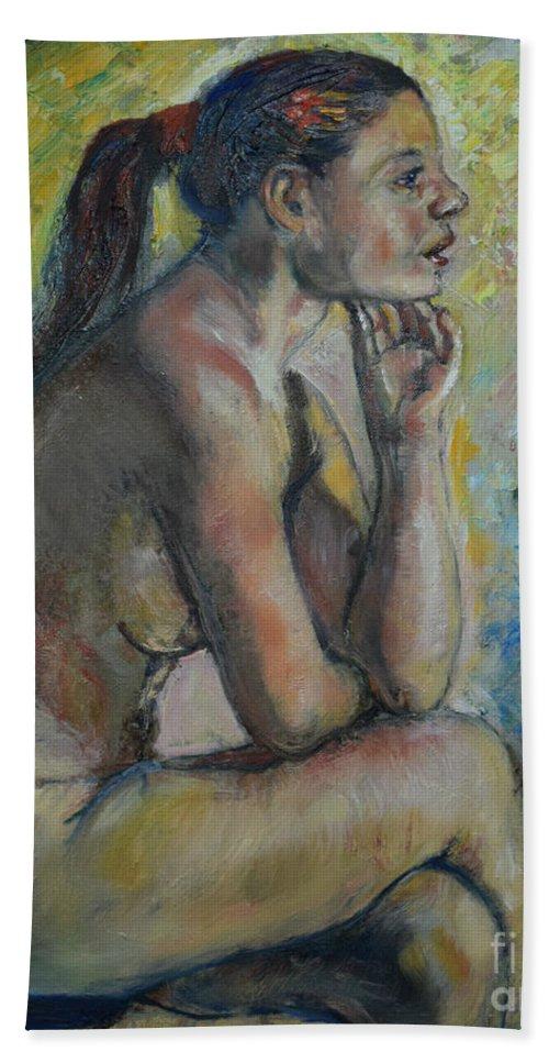 Nude In Art Hand Towel featuring the painting Nude Eva 2 by Raija Merila