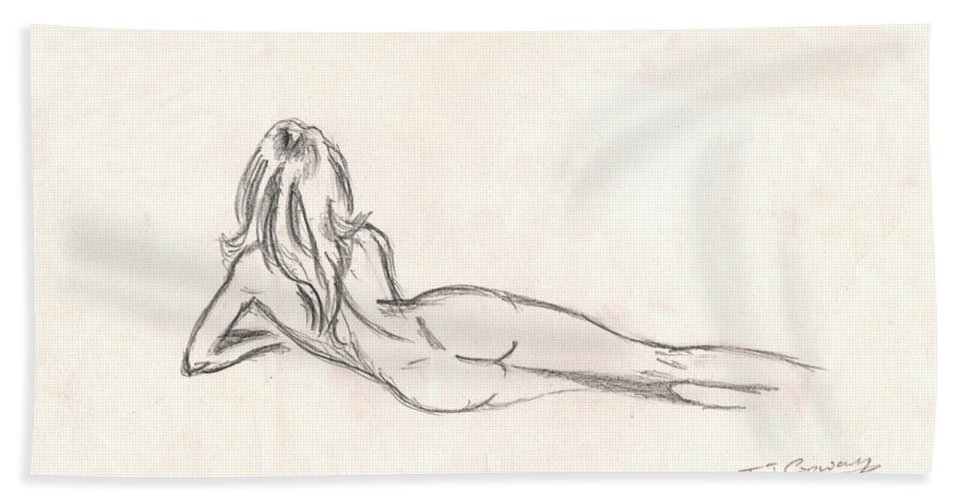 Drawing Hand Towel featuring the drawing Nude Figure Drawing by Tom Conway