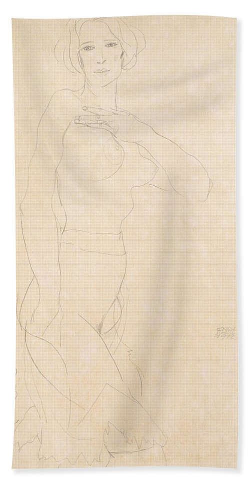 Egon Schiele Hand Towel featuring the drawing Nude Girl by Egon Schiele
