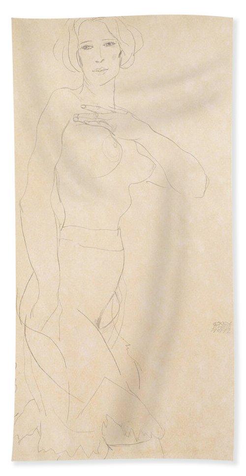 Egon Schiele Bath Sheet featuring the drawing Nude Girl by Egon Schiele