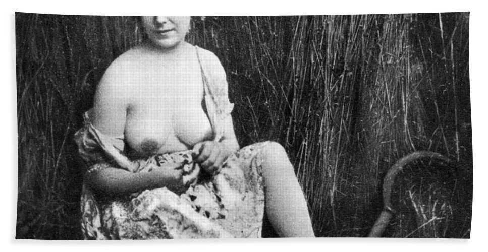 1850 Hand Towel featuring the photograph Nude In Field, C1850 by Granger