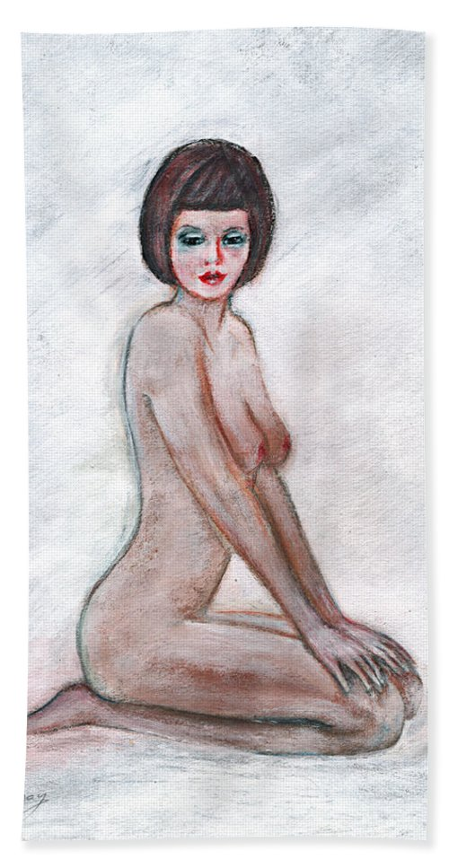 Girl Bath Sheet featuring the painting Nude In The White Room by Tom Conway
