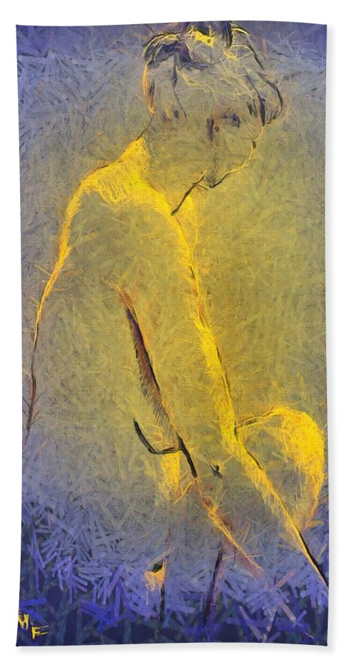 Nude Bath Sheet featuring the painting Nude Iv by Dragica Micki Fortuna