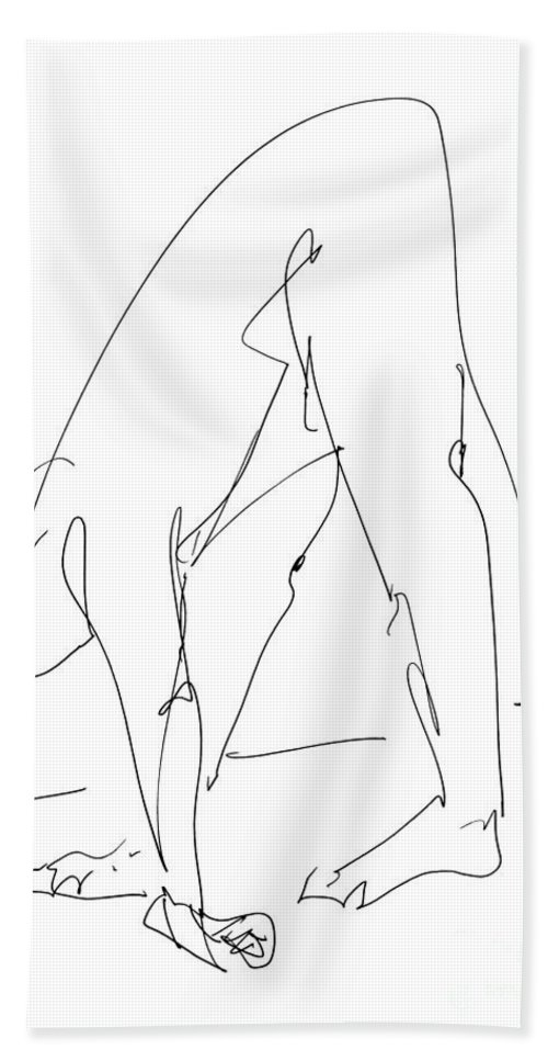 Male Bath Sheet featuring the drawing Nude Male Drawings 32 by Gordon Punt