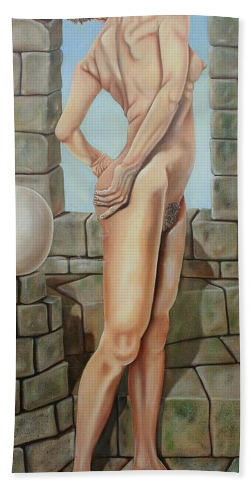 Nude Hand Towel featuring the painting Nude On A Rampart by Don Martinelli