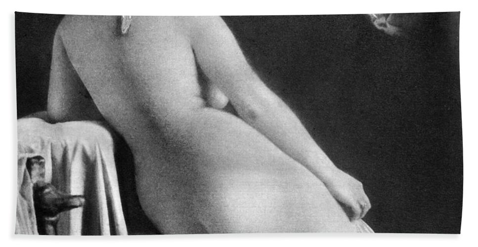 1850 Bath Sheet featuring the photograph Nude Posing: Rear View by Granger