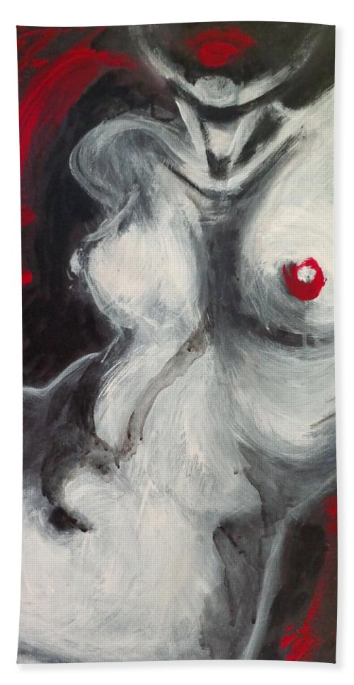 Bath Sheet featuring the painting Nude Torso And Red Lips by Carmen Tyrrell