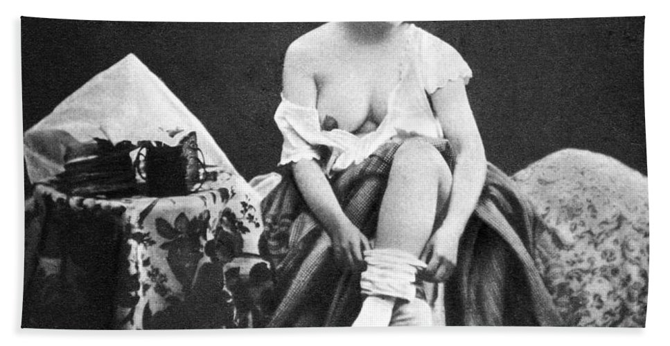 1850 Hand Towel featuring the photograph Nude Undressing, C1850 by Granger