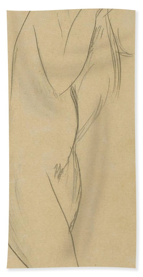 Nude Hand Towel featuring the drawing Nude Woman by Amedeo Modigliani