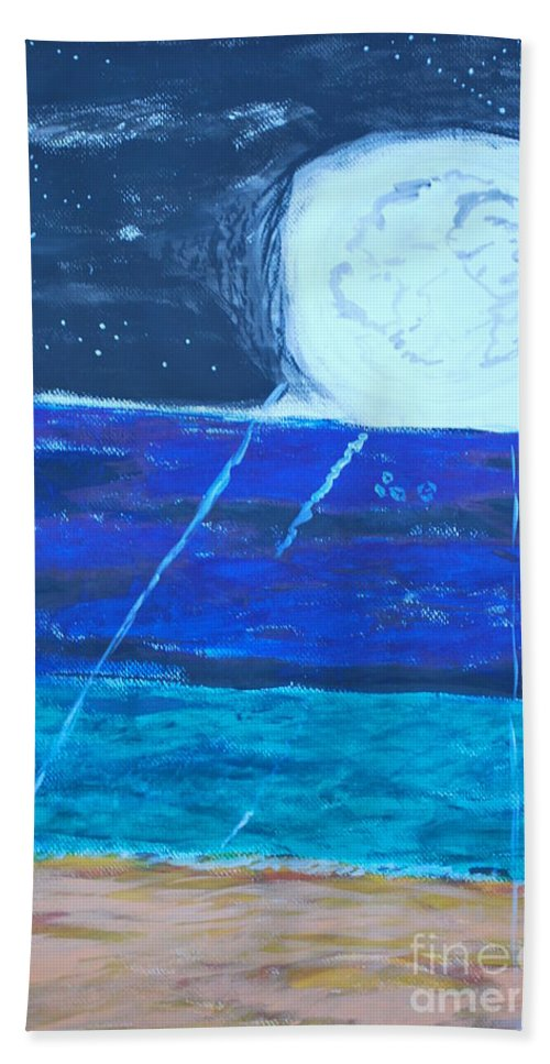 Moon And Moonlight Emanating And Shooting Rays Over The Ocean. Hand Towel featuring the painting Nuestra Luna by Douglas Friedman