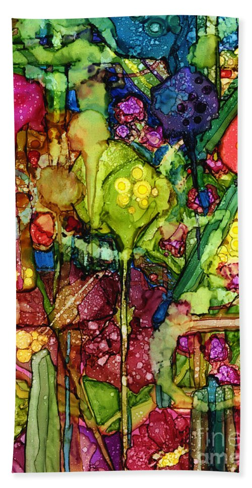 Abstract Bath Sheet featuring the painting Number Viii by Vicki Baun Barry