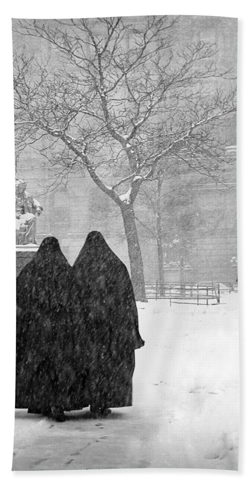 Christmas Hand Towel featuring the photograph Nuns In Snow New York City 1946 by Melissa A Benson