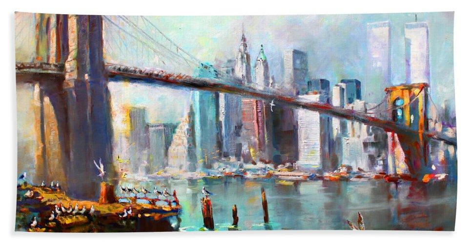 Nyc Bath Towel featuring the painting NY City Brooklyn Bridge II by Ylli Haruni