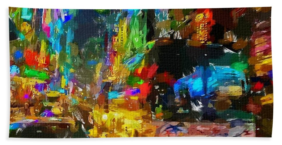 Nyc Hand Towel featuring the painting Nyc 3 by Chris Butler