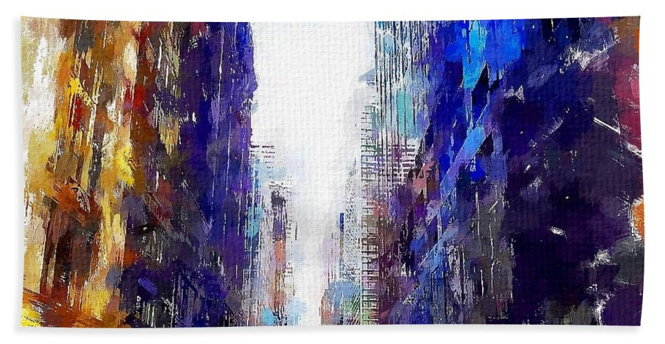 Nyc Bath Sheet featuring the painting NYC by Chris Butler