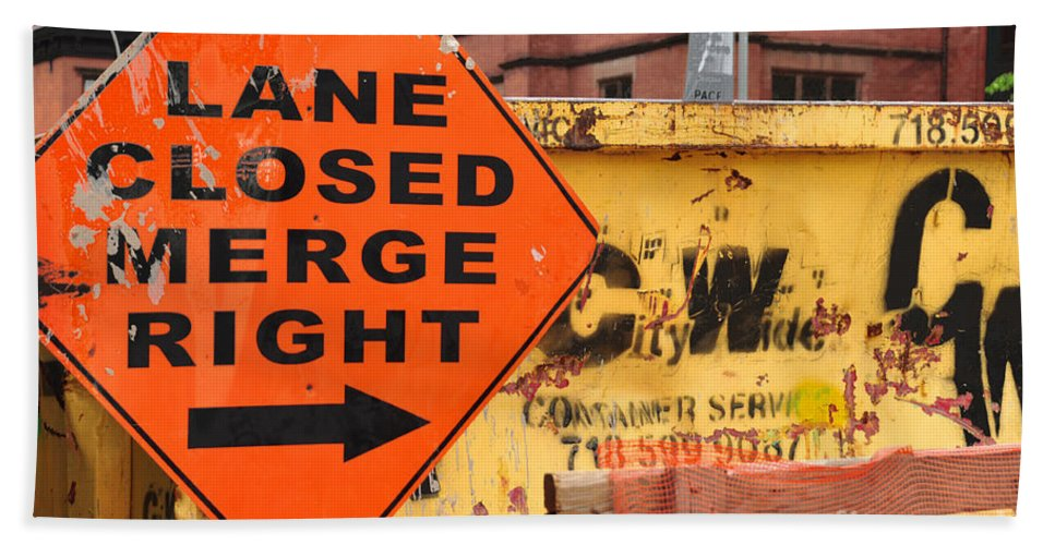Nyc Street Sign Bath Sheet featuring the photograph Nyc Construction Graffiti by Regina Geoghan