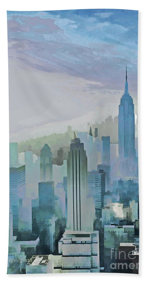 New York City Hand Towel featuring the photograph Nyc Morning Blues by Regina Geoghan