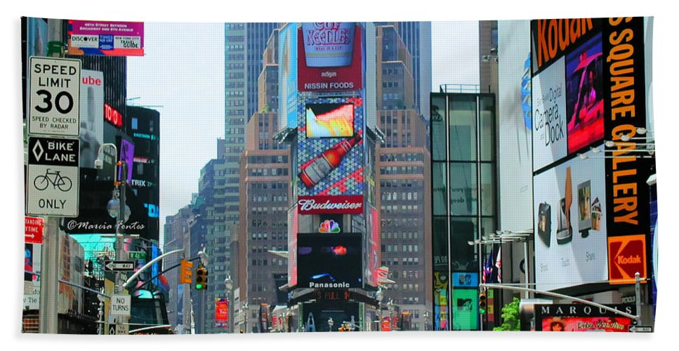 New York Hand Towel featuring the photograph New York City Times Square by Tap On Photo