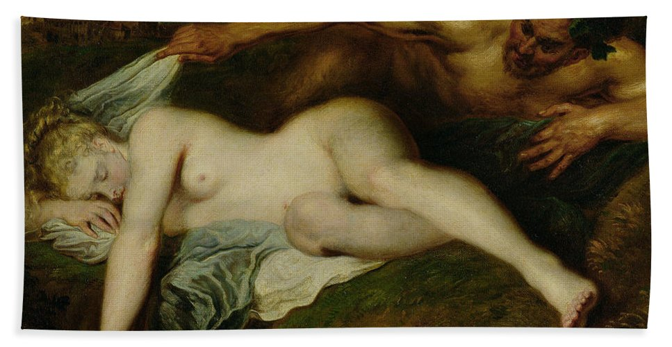 Nymph And Satyr Bath Sheet featuring the painting Nymph And Satyr by Jean Antoine Watteau
