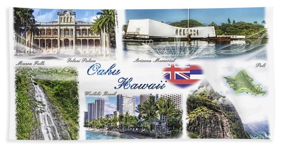 Oahu Postcard Bath Sheet featuring the photograph Oahu Postcard 2 by Mo T