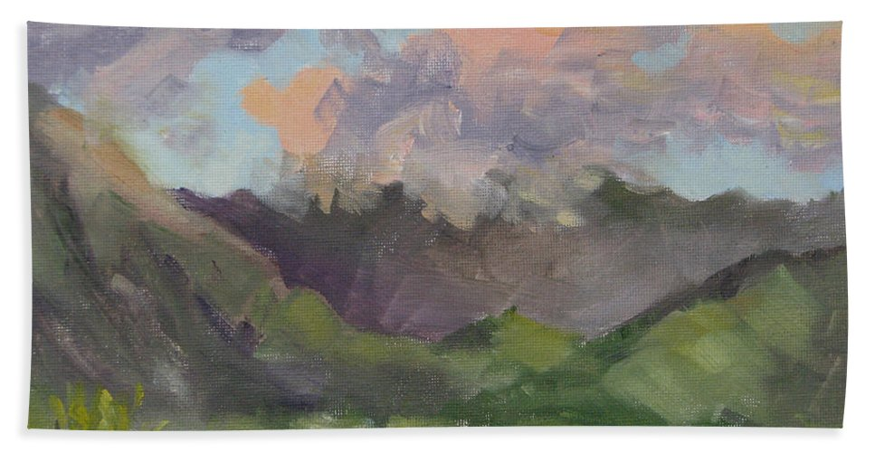 Hawaii Hand Towel featuring the painting Oahu Sunrise by Karin Leonard