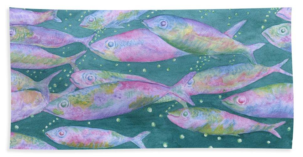 Oahu Hand Towel featuring the painting Oahu Tiny Bubbles by Rhonda Leonard