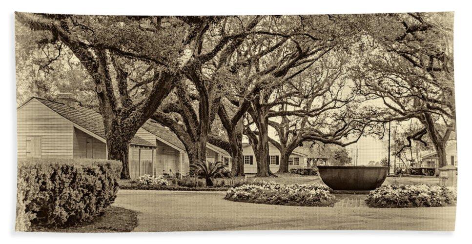 Oak Alley Plantation Bath Sheet featuring the photograph Oak Alley Slave Quarters Sepia by Steve Harrington