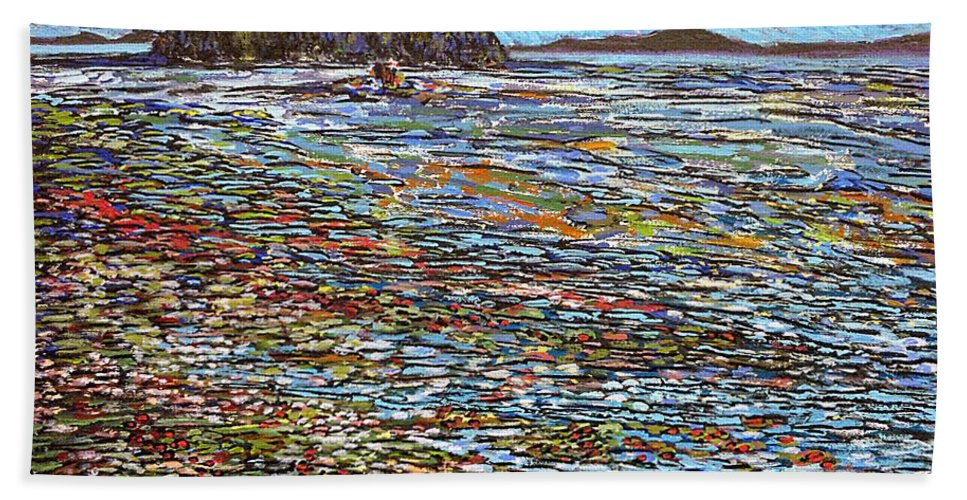 Sea Bath Sheet featuring the painting Oak Bay - Low Tide by Michael Graham