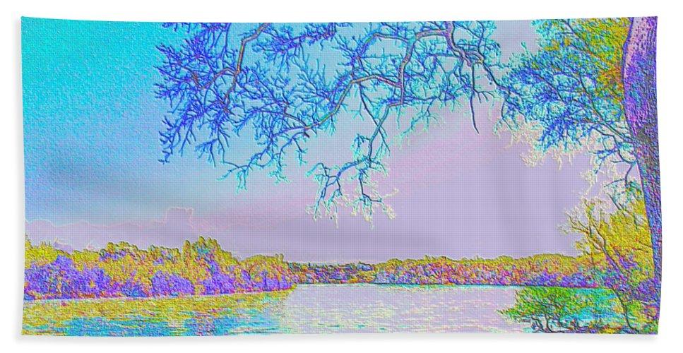 Oak Bath Sheet featuring the photograph Oak On The Sacramento River - Pastel by Joyce Dickens