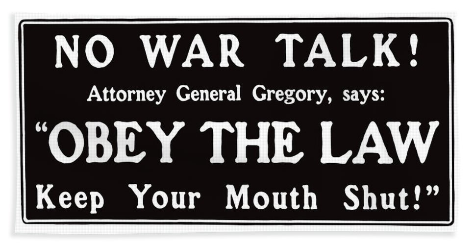 Ww1 Hand Towel featuring the mixed media Obey The Law Keep Your Mouth Shut by War Is Hell Store