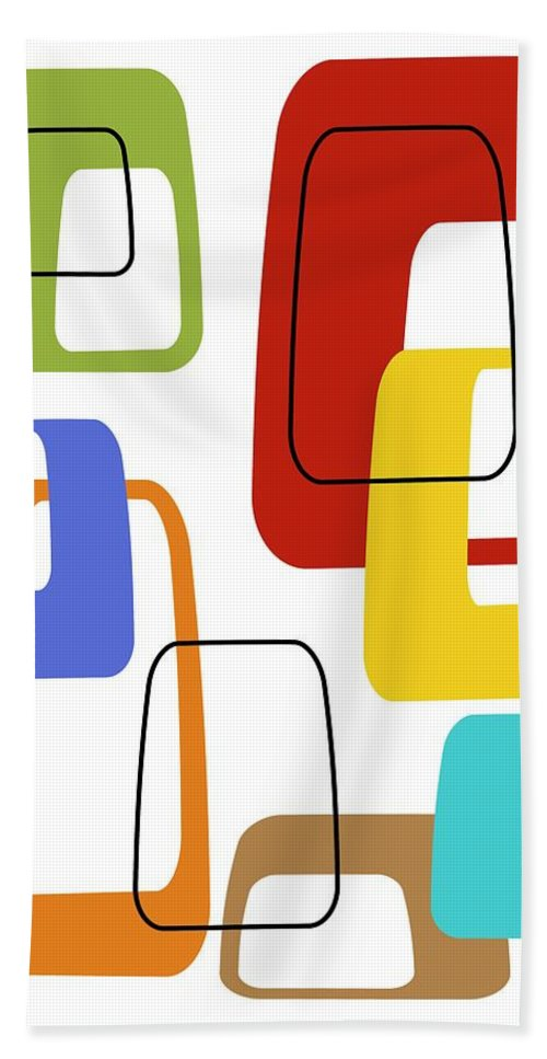 Abstract Bath Sheet featuring the digital art Oblongs On White 3 by Donna Mibus