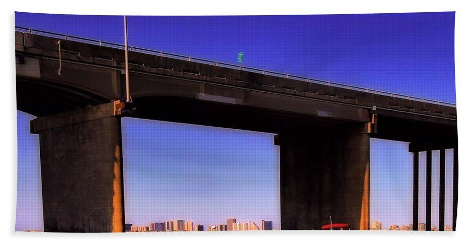 Skyline Bath Sheet featuring the photograph O.c. Bridge N Skyline by Robert McCubbin