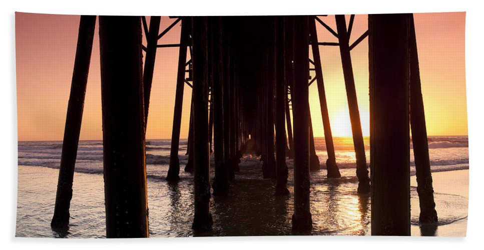 Sunset Bath Sheet featuring the photograph Oceanside Pier Tunnel by Sean Davey
