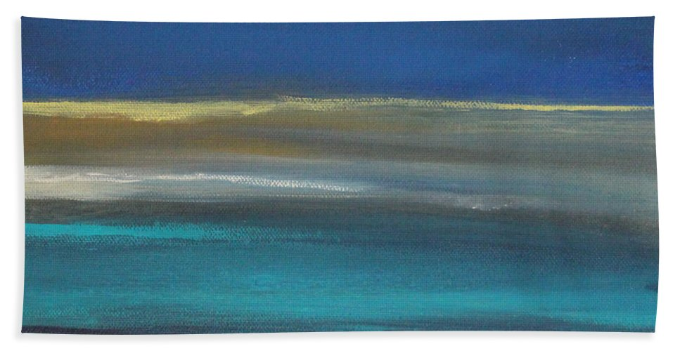 Abstract Painting Hand Towel featuring the painting Ocean Blue 2 by Linda Woods