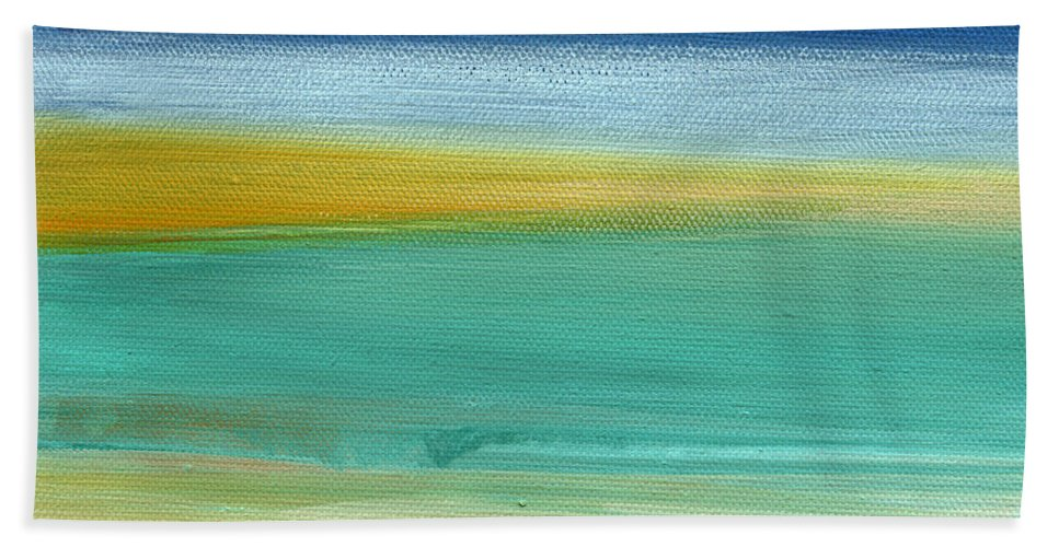 Abstract Bath Towel featuring the painting Ocean Blue 3- Art by Linda Woods by Linda Woods