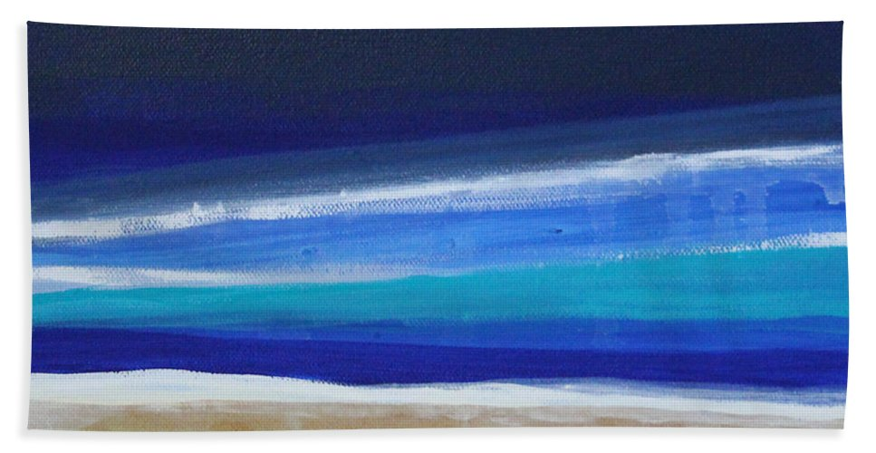 Abstract Painting Bath Towel featuring the painting Ocean Blue by Linda Woods