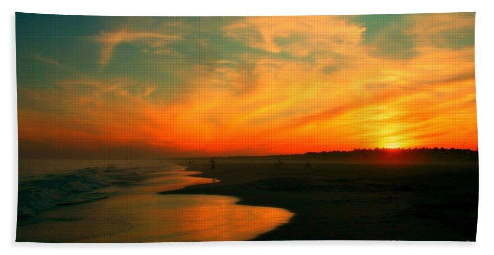 Ocean City Bath Sheet featuring the photograph Ocean City Nj Sunset by Beth Ferris Sale