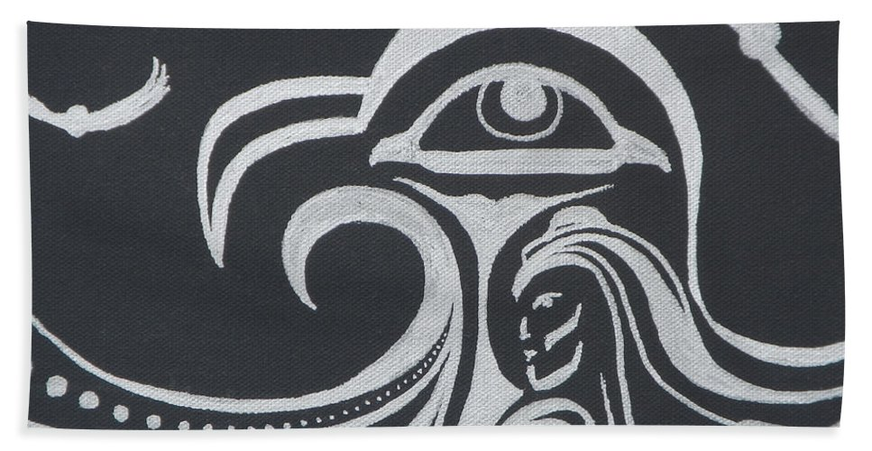 Abstract Hand Towel featuring the painting Ocean Eagle Eye by A Cyaltsa Finkbonner
