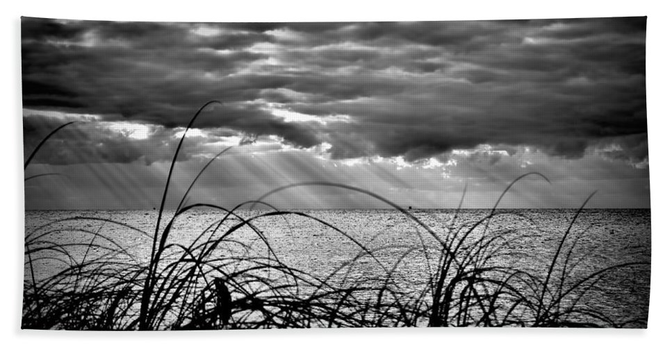 Ocean Hand Towel featuring the photograph Ocean Rays Black And White by Photos By Cassandra