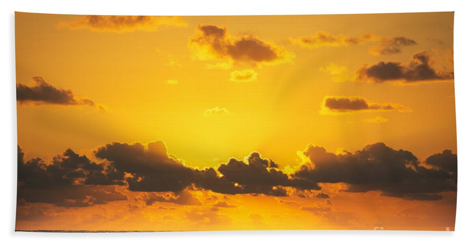 Sunrise Hand Towel featuring the photograph Ocean Sunrise Clouds by Tim Hester