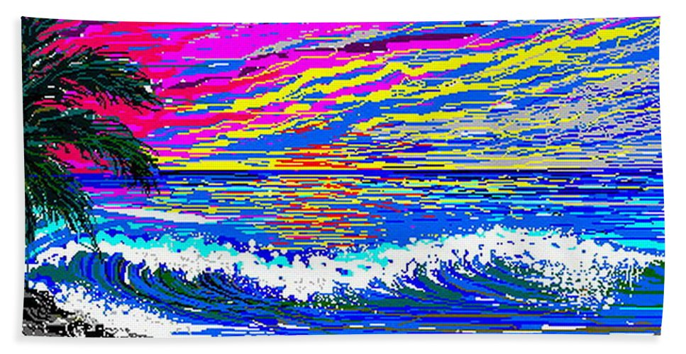 Ocean Sunset Quickly Sketched In 3 Hours. Bath Sheet featuring the digital art Ocean Sunset by Larry Lehman
