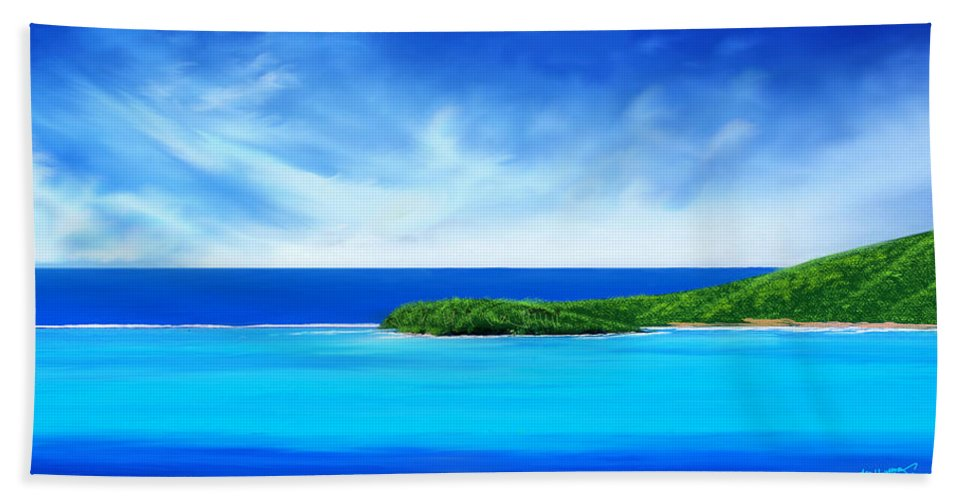 Tropical.tropical Island.tropical Island Print.ocean.ocean Print.turquois Sea.turquois Water.seascape Hand Towel featuring the digital art Ocean Tropical Island by Anthony Fishburne