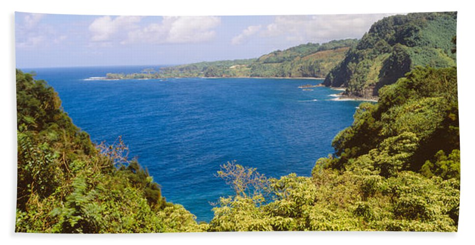 Photography Bath Sheet featuring the photograph Ocean View From The Road To Hana, Maui by Panoramic Images