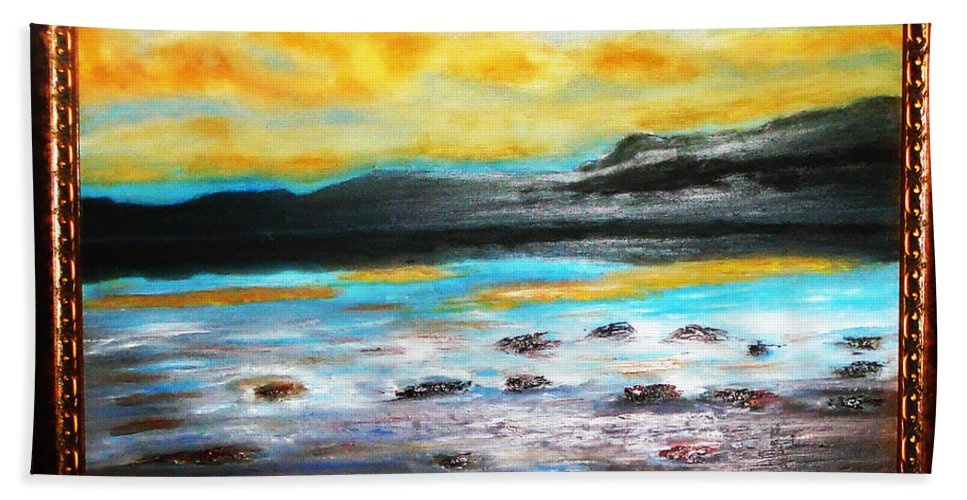 Oil Painting Bath Sheet featuring the painting Ocean View by Yael VanGruber
