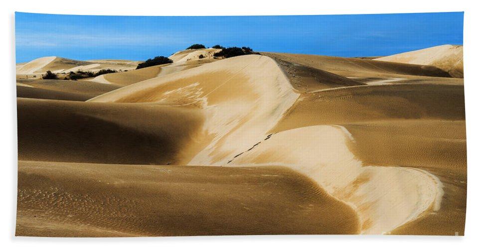 Oceano Sand Dunes Hand Towel featuring the photograph Oceano Sand Dunes by Yefim Bam