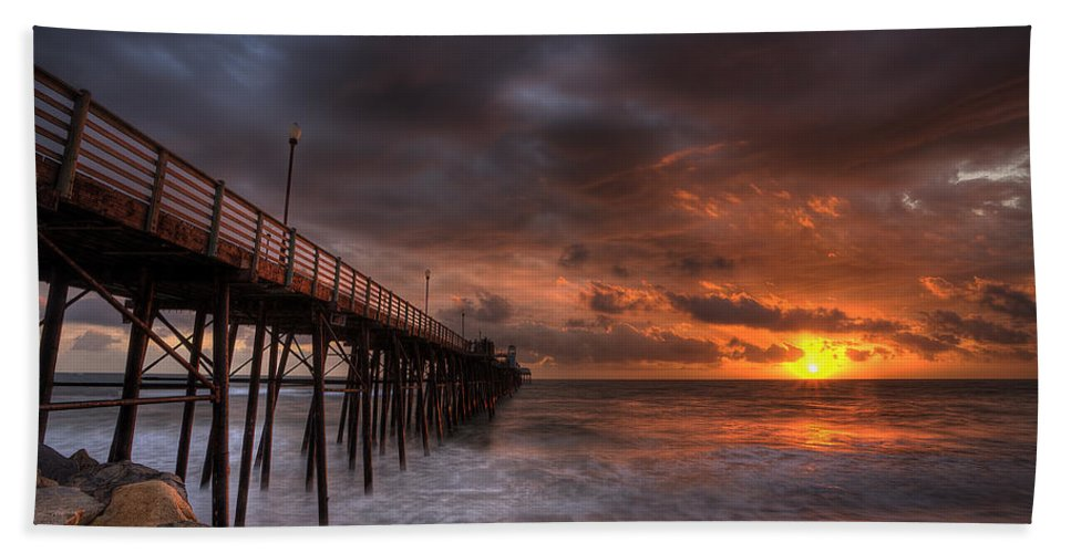 Sunset Bath Sheet featuring the photograph Oceanside Pier Perfect Sunset by Peter Tellone