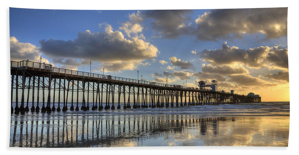 California Bath Towel featuring the photograph Oceanside Pier Sunset Reflection by Peter Tellone